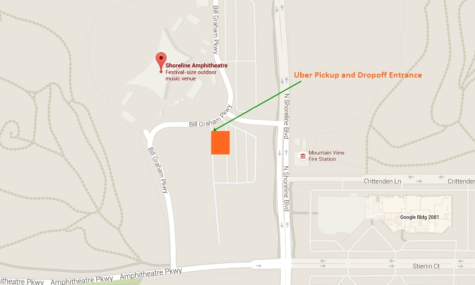 Shoreline Amphitheatre Uber Pickup and Dropoff Location