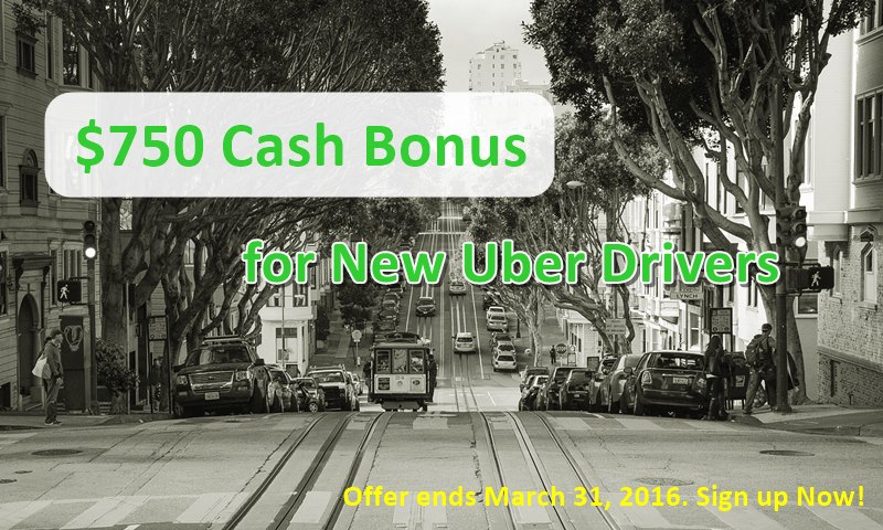 $750 Bonus for New Uber Drivers - March 2016 Only - RideShare Connection