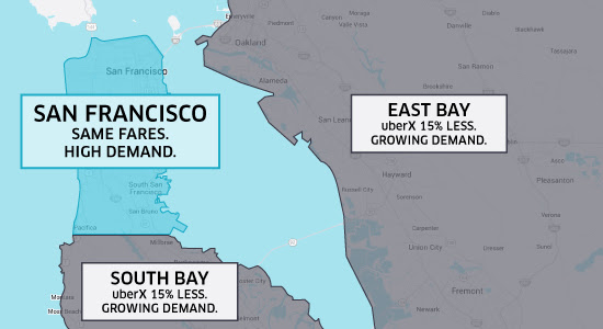Uber Fare Cut in South Bay and East Bay